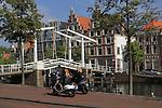 Gravestenenbrug Bridge over the Spaarne River, Haarlem, Holland, Netherlands.