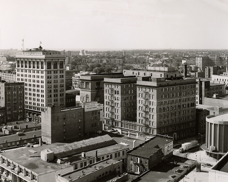 1963 August 14..Redevelopment.Downtown West (A-1-6)..View looking Northwest toward Granby Street.Monticello Hotel.201 Building..HAYCOX PHOTORAMIC INC..NEG# C63-568-60.NRHA# 1025B..