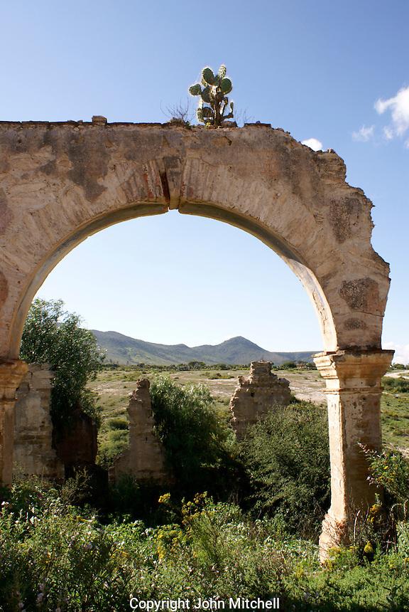 Mine ruins in the 19th century mining town of Mineral de Pozos, Guanajuato, Mexico.
