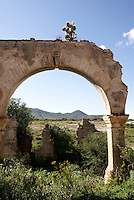 Mine ruins in the 19th century mining town of Mineral de Pozos, Guanajuato, Mexico.