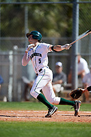 Dartmouth Big Green shortstop Nate Ostmo (5) at bat during a game against the Villanova Wildcats on March 3, 2018 at North Charlotte Regional Park in Port Charlotte, Florida.  Dartmouth defeated Villanova 12-7.  (Mike Janes/Four Seam Images)