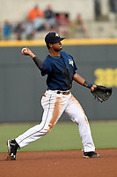 Shortstop Luis Carpio (18) of the Columbia Fireflies plays defense in a game against  the Charleston RiverDogs on Friday, June 9, 2017, at Spirit Communications Park in Columbia, South Carolina. Columbia won, 3-1. (Tom Priddy/Four Seam Images)