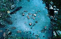 POLEN, 05.1989.Osviecim (Auschwitz).Gedenkstaette K.L. Auschwitz II - Birkenau: In der Ruine des gesprengten Krematoriums III (mit Auskleideraum und Gaskammer) steht das Wasser (von Besuchern hineingeworfene Gedenkblumen)..Former concentration camp: Water in the ruins of the blown up Crematory II at Auschwitz II Birkenau..© Martin Fejer/est&ost