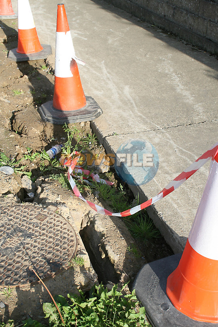 Works on the Rathmullen Road where someone Broke their Ankle..Photo NEWSFILE/Jenny Matthews.(Photo credit should read Jenny Matthews/NEWSFILE)....This Picture has been sent you under the condtions enclosed by:.Newsfile Ltd..The Studio,.Millmount Abbey,.Drogheda,.Co Meath..Ireland..Tel: +353(0)41-9871240.Fax: +353(0)41-9871260.GSM: +353(0)86-2500958.email: pictures@newsfile.ie.www.newsfile.ie.FTP: 193.120.102.198.