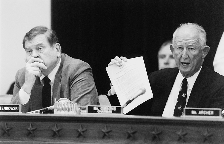 Rep. Sam Gibbons, D-Fla. on his first day as Chairman of the Ways and Means Committee tachles a health care mark-up. June 9, 1994. (Photo by Chris Martin/CQ Roll Call)
