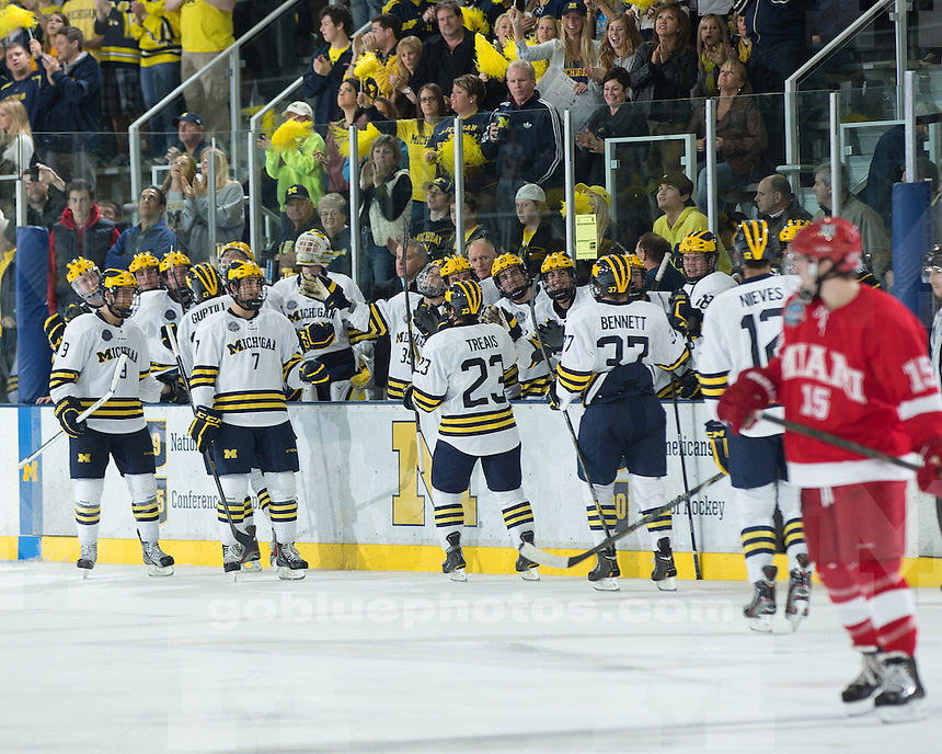 The No. 6 University of Michigan ice hockey team beat No. 3 Miami (Ohio), 4-2, at Yost Ice Arena in Ann Arbor, Mich., on October 26, 2012.