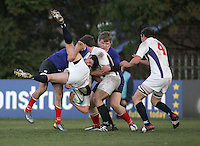 Russian flanker Andrev Gas received a yellow card for this tackle on USA flanker Laim Murphy during the IRB U19 World Championship Division B first round match played at Gibson Park, Belfast. Result Russia 0 USA 6.