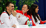 Tenis, Fed Cup 2011, play-off for group A.Slovakia Vs. Serbia, Official Draw.from left, Team captain Dejan Vranes, Jelena Jankovic,  and Ana Ivanovic.Bratislava, 15.04.2011..foto: Srdjan Stevanovic/Starsportphoto ©
