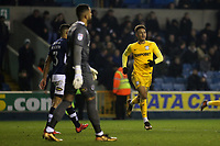 Callum Robinson runs across the pitch to celebrate scoring Preston's first goal during Millwall vs Preston North End, Sky Bet EFL Championship Football at The Den on 13th January 2018