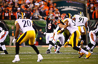 AJ McCarron #5 of the Cincinnati Bengals throws a pass against the Pittsburgh Steelers in the first quarter during the Wild Card playoff game at Paul Brown Stadium on January 9, 2016 in Cincinnati, Ohio. (Photo by Jared Wickerham/DKPittsburghSports)