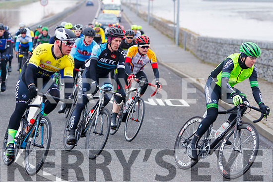 Cyclists in action at the finish of the Lacey Cup race on Sunday.