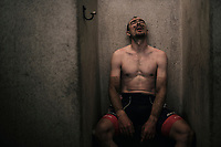 a first tranquil moment for John Degenkolb (DEU/Trek-Segafredo) post-race in the famous Roubaix showers<br /> <br /> 116th Paris-Roubaix (1.UWT)<br /> 1 Day Race. Compiègne - Roubaix (257km)