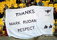 A banner thanking coach Mark Rudan during the A-League football match between Wellington Phoenix and Melbourne City FC at Westpac Stadium in Wellington, New Zealand on Sunday, 21 April 2019. Photo: Dave Lintott / lintottphoto.co.nz