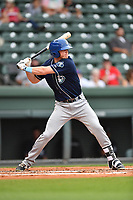 Third baseman Taylor Snyder (28) of Asheville Tourists bats in a game against the Greenville Drive on Wednesday, May 3, 2017, at Fluor Field at the West End in Greenville, South Carolina. Greenville won, 8-0. (Tom Priddy/Four Seam Images)