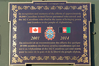 Plaque in memory Canadian Armed Forces who served and died in Afghanistan on the LAV III monument at the Seaforth Armoury, Vancouver, BC, Canada
