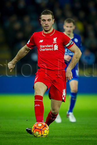 02.02.2016.  Leicester, England. Barclays Premier League. Leicester City versus Liverpool. Jordan Henderson of Liverpool.