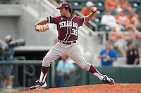 Texas A&M Aggies pitcher Estevan Uriegas #35 delivers during the NCAA baseball game against the Texas Longhorns on April 28, 2012 at UFCU Disch-Falk Field in Austin, Texas. The Aggies beat the Longhorns 12-4. (Andrew Woolley / Four Seam Images).