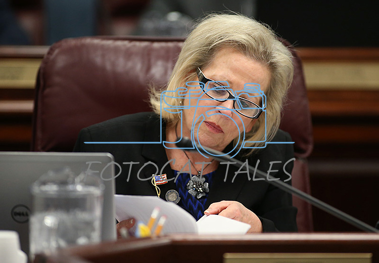 Nevada Assemblywoman Victoria Dooling, R-Las Vegas, works in committee at the Legislative Building in Carson City, Nev., on Friday, April 10, 2015. <br /> Photo by Cathleen Allison