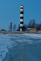 Daugavgriva Lighthouse from Ice at Twililght -Riga, Latvia