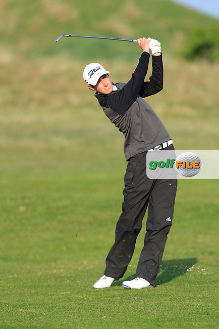 Gary Hurley (West Waterford) on the 1st tee during the Semi-Finals of The West of Ireland Amateur Open in Co. Sligo Golf Club on Tuesday 22nd April 2014.<br /> Picture:  Thos Caffrey / www.golffile.ie