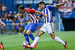 Atletico de Madrid's Juanfran Torres and Deportivo Alaves's Edgar Mendez  during the match of La Liga Santander between Atletico de Madrid and Deportivo Alaves at Vicente Calderon Stadium. August 21, 2016. (ALTERPHOTOS/Rodrigo Jimenez)