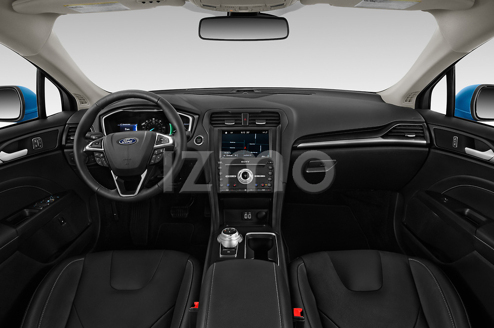 Stock photo of straight dashboard view of a 2019 Ford Fusion-Hybrid Titanium  4 Door Sedan