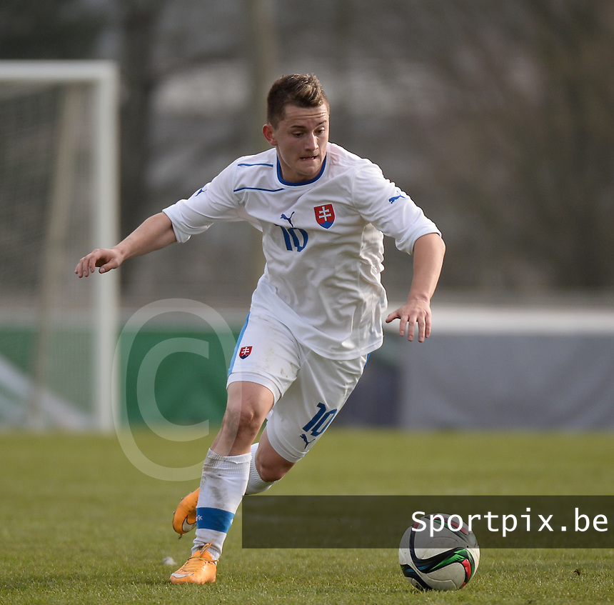 20150323 - MARBURG , GERMANY  : Slovakian Marek Teslar pictured during the soccer match between Under 17 teams of Slovakia and Italy , on the second matchday in group 8 of the UEFA Elite Round Under 17 at Georg-Gassmann , Marburg Germany . Monday 23 rd  March 2015 . PHOTO DAVID CATRY