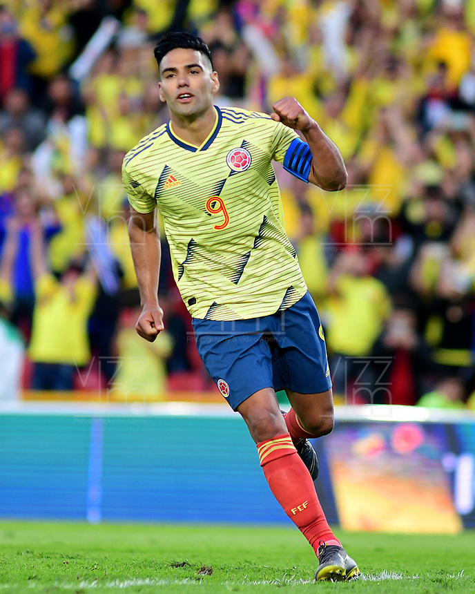 BOGOTA - COLOMBIA, 03-06-2019: Falcao Garcia jugador de Colombia celebra después de anotar el tercer gol de su equipo durante partido amistoso entre Colombia y Panamá jugado en el estadio El Campín en Bogotá, Colombia. / Falcao Garcia player of Colombia celebrates after scoring the third goal of his team during a friendly match between Colombia and Panama played at Estadio El Campin in Bogota, Colombia. Photo: VizzorImage / Nelson Rios / Cont