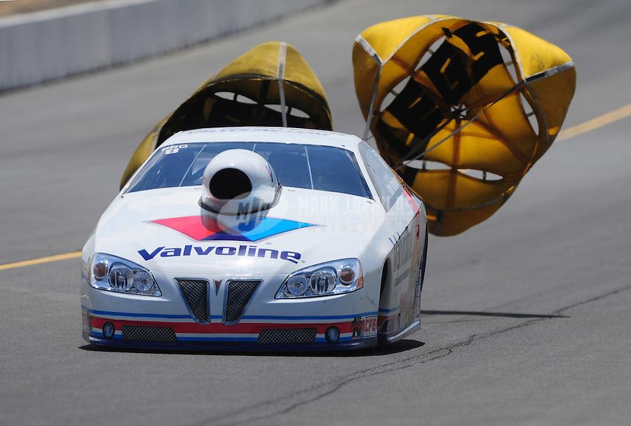 Jul. 30, 2011; Sonoma, CA, USA; NHRA pro stock driver Ron Krisher during qualifying for the Fram Autolite Nationals at Infineon Raceway. Mandatory Credit: Mark J. Rebilas-