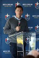 RALEIGH, NC - FEBRUARY 27: North Carolina FC president Curt Johnson talks to the media at One Glenwood on February 27, 2020 in Raleigh, North Carolina.