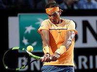 Lo spagnolo Rafael Nadal in azione nel corso degli Internazionali d'Italia di tennis a Roma, 11 maggio 2016.<br /> Spain's Rafael Nadal returns the ball to Germany's Philipp Kohlschreiber at the Italian Open tennis tournament, in Rome, 11 May 2016.<br /> UPDATE IMAGES PRESS/Isabella Bonotto