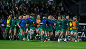9th February 2018, Galway Sportsground, Galway, Ireland; Guinness Pro14 rugby, Connacht versus Ospreys; The Connacht team do a lap of The Sportsgrounds pitch to greet supporters