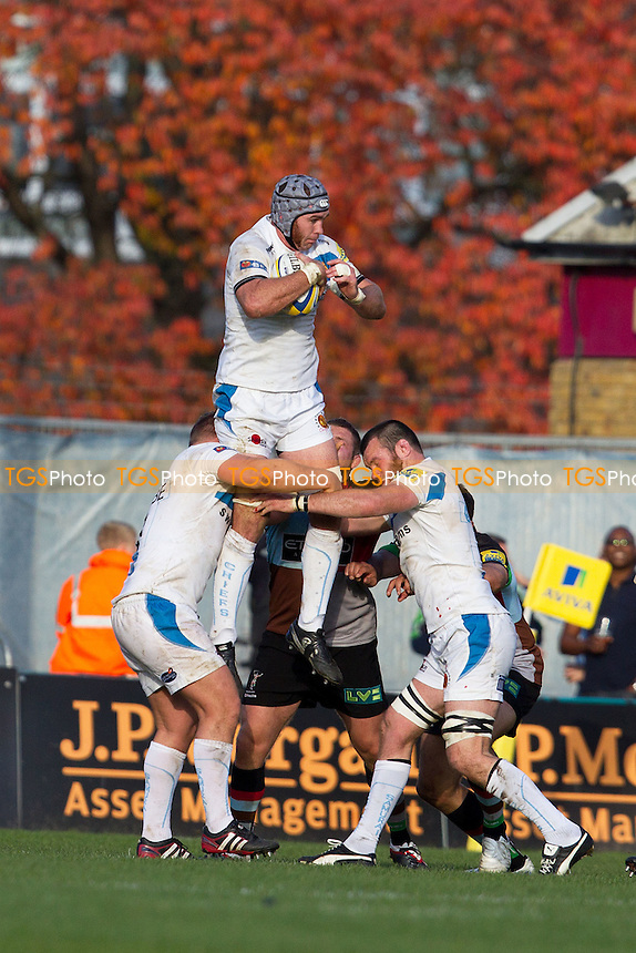 James Hanks (Exeter Chiefs) safely collects line out ball - Harlequins RFC vs Exeter Chiefs RFC - Aviva Premiership Rugby at Twickenham Stoop - 29/10/11 - MANDATORY CREDIT: Ray Lawrence/TGSPHOTO - Self billing applies where appropriate - 0845 094 6026 - contact@tgsphoto.co.uk - NO UNPAID USE.