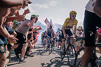 "Geraint Thomas (GBR/SKY) & Chris Froome (GBR/SKY) coming through ""Dutch Corner"" (#7) on Alpe d'Huez<br /> <br /> Stage 12: Bourg-Saint-Maurice / Les Arcs > Alpe d'Huez (175km)<br /> <br /> 105th Tour de France 2018<br /> ©kramon"