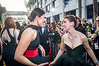 Mandy Moore greets Nominee for BEST PERFORMANCE BY AN ACTRESS IN A TELEVISION SERIES &ndash; COMEDY OR MUSICAL for her role in &quot;GLOW,&quot; actress Alison Brie on the red carpet of the 75th Annual Golden Globes Awards at the Beverly Hilton in Beverly Hills, CA on Sunday, January 7, 2018. <br /> *Editorial Use Only*<br /> CAP/PLF/HFPA<br /> &copy;HFPA/Capital Pictures