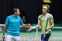 Rotterdam, Netherlands, 11 februari, 2018, Ahoy, Tennis, ABNAMROWTT, Qualifying Doubles final, Erlich (ISR) and Tsitsipas (GRE) (R)<br /> Photo: Henk Koster/tennisimages.com