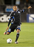 SANTA CLARA, CA - July 18, 2012: San Jose Earthquake defender Victor Bernardez (26) during the San Jose Earthquakes vs  FC Dallas match at the Buck Shaw Stadium in Santa Clara, California. Final score San Jose Earthquakes 2, FC Dallas 1.