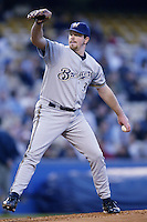 Glendon Rusch of the Milwaukee Brewers pitches during a 2002 MLB season game against the Los Angeles Dodgers at Dodger Stadium, in Los Angeles, California. (Larry Goren/Four Seam Images)