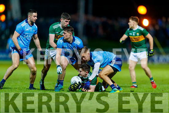Sean O'Shea Kerry in action against Brian Howard and Jonny Cooper Dublin during the Allianz Football League Division 1 Round 3 match between Kerry and Dublin at Austin Stack Park in Tralee, Kerry on Saturday night.