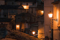 Italy, Calabria, Stilo: old town at night. Small town at Monte Consolino
