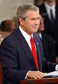 United States President George W. Bush delivers his State of the Union Address to a Joint Session of the United States Congress in the United States Capitol in Washington, D.C. on January 20, 2004.<br /> Credit: Ron Sachs / CNP