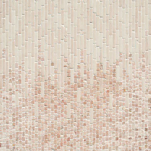 Perseid, a hand-cut tumbled mosaic, shown in Desert Pink and Italian Rose, is part of the Tissé® collection for New Ravenna.