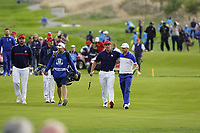 Bryson Dechambeau (Team USA) Alex Noran (Team Europe) during the singles matches at the Ryder Cup, Le Golf National, Ile-de-France, France. 30/09/2018.<br /> Picture Fran Caffrey / Golffile.ie<br /> <br /> All photo usage must carry mandatory copyright credit (&copy; Golffile | Fran Caffrey)