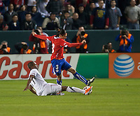 CARSON, CA – JANUARY 22: USA forward Juan Agudelo (17) and Chile defender Juan Abarca (3) during the international friendly match between USA and Chile at the Home Depot Center, January 22, 2011 in Carson, California. Final score USA 1, Chile 1.