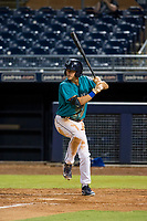 AZL Mariners center fielder Jack Larsen (12) at bat against the AZL Royals on July 29, 2017 at Peoria Stadium in Peoria, Arizona. AZL Royals defeated the AZL Mariners 11-4. (Zachary Lucy/Four Seam Images)
