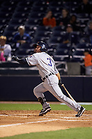 Lakeland Flying Tigers designated hitter Will Maddox (3) follows through on a swing during a game against the Tampa Yankees on April 7, 2017 at George M. Steinbrenner Field in Tampa, Florida.  Lakeland defeated Tampa 5-0.  (Mike Janes/Four Seam Images)