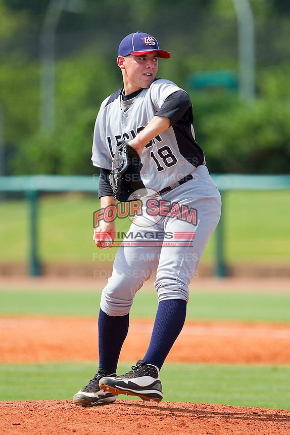 Michael Shawaryn #18 of American Legion in action against NABF at the 2011 Tournament of Stars at the USA Baseball National Training Center on June 26, 2011 in Cary, North Carolina.  NABF defeated American Legion 5-0. (Brian Westerholt/Four Seam Images)