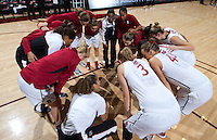 Stanford, California.,--November 25, 2012-- The Stanford women's basketball team get ready for Saturday's, November 25, 2012, game against Long Beach State at Stanford. Stanford won 77-41.