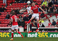 Barnsley's Alex Jones and Bolton Wanderers' Mark Beevers<br /> <br /> Photographer Rachel Holborn/CameraSport<br /> <br /> The EFL Sky Bet Championship - Barnsley v Bolton Wanderers - Saturday 14th April 2018 - Oakwell - Barnsley<br /> <br /> World Copyright &copy; 2018 CameraSport. All rights reserved. 43 Linden Ave. Countesthorpe. Leicester. England. LE8 5PG - Tel: +44 (0) 116 277 4147 - admin@camerasport.com - www.camerasport.com