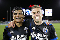 San Jose, CA - Saturday, March 04, 2017: Nick Lima, Tommy Thompson after a Major League Soccer (MLS) match between the San Jose Earthquakes and the Montreal Impact at Avaya Stadium.